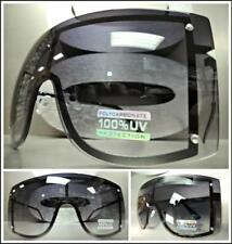 2d088691bc1 OVERSIZED VINTAGE RETRO SHIELD VISOR Style SUN GLASSES Black Frame XL Huge  Lens