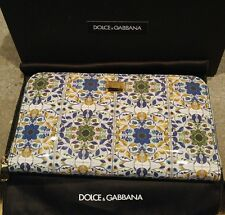 DOLCE AND GABBANA Majolica Zip Around Patent Wallet