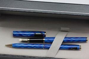 Sheaffer Fashion 284 Blue Criss Cross Fountain and Pencil Set NOS