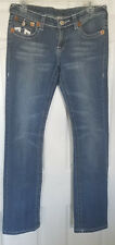 TRUE RELIGION JOEY SUPER T Low Rise Heavy Stitch Flare Stretch Jeans 28