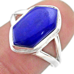 5.58cts Hexagon Natural Blue Lapis Lazuli Silver Solitaire Ring Size 7 T48538