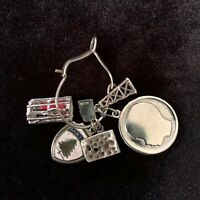 Vintage Sterling Silver Charm Necklace Pendant Swiss Cheese