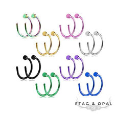 New Nose Ring Hoop Flat End Piercing Pierced Rainbow Surgical Steel