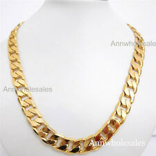SET Heavy HUGE  Men's 24k gold filled necklace & Bracelet 12MM Curb chain