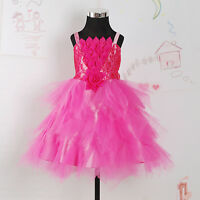 New Flower Girl Party Bridesmaid Wedding Pageant Dress Hot Pink,Ivory 3-8 Years