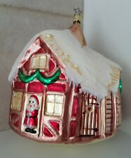"""Kurt Adler Made in Germany Extra Large Blown Glass House W/ Santa Ornament 7"""""""