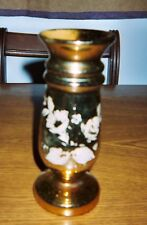 "Decorated, GOLD! ""MERCURY GLASS"" VASE; 7 1/2"" Tall/ with Stopper.  19th Century."