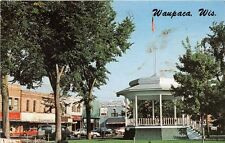 """WAUPACA WI 1972 View of Downtown & """"The Bandstand"""" Old Cars VINTAGE WISCONSIN"""