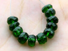 Natural Dark Green Chrome Diopside Faceted Rondelle Gemstone Beads (12085)
