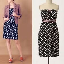 Anthropologie Maeve Polka Dot Bandeau Dress 12 Midi Black Rockabilly PinUp Party