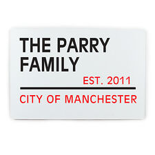 PERSONALISED Family Street Sign - 30cm London Style Aliminium Tin House Plaque