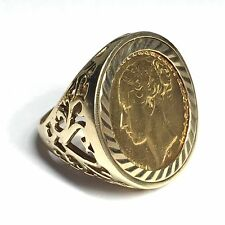 9ct Gold Full Sovereign Ring - Year 1876 - Size R / S - REF007