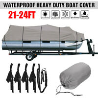 21-24Ft Trailerable Pontoon Fishing Boat Cover Heavy Duty 210D Waterproof
