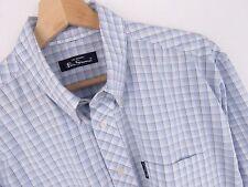 R1099 BEN SHERMAN camicia maglietta blu a scacchi ORIGINALE PREMIUM TAGLIA 3/L