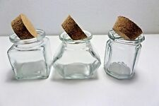SPICE JARS WITH CORK LID ASSORTED SHAPES GLASS SET OF 3