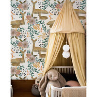Watercolor deer Removable wallpaper brown and green Home Decor