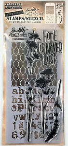 Tim Holtz Stampers Anonymous Mesh & Typo Mixed Media Clear Stamp & Stencil Set