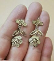 Pair of Solid Sterling Silver Filigree Flower Shaped Earrings Hallmarked