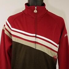 Billabong Mens Track Jacket Full Zip Mock Neck Embroidered Brown Maroon Small