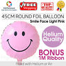 Round Foil Balloon Smile Face Light Pink 45cm Helium Air Birthday Party Wedding