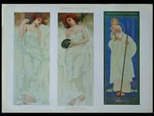 FIGURES ART NOUVEAU -1910- PHOTOLITHOGRAPHIE, EDOARDO BARONCINI, CERAMIQUE
