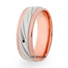 MENS TWO TONE GOLD WEDDING BANDS,10K WHITE & ROSE GOLD MENS WEDDING RINGS 7MM
