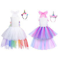 Girls Rainbow Princess Tutu Dress Hair Hoop Outfits Cosplay Party Fancy Costumes