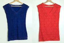 Slim 'n' Lift 2 Pack Caresse Lace Sleeveless Top Coral/Cobalt Size L RRP £46