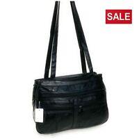 Ladies Women's Real Leather Handbag Long Shoulder Strap Black Travel Work Bag
