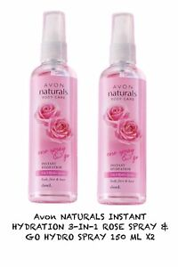 Avon NATURALS INSTANT HYDRATION 3-IN-1 ROSE SPRAY & GO HYDRO SPRAY 150 ML X2