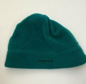 Patagonia Vintage Fleece Winter Beanie Hat Green Purple Medium Made in USA