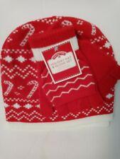 Women's Holiday Beanie Hat & 1/2 Glove Set Red White Candy Cane NEW winter xmas