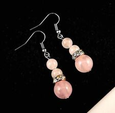 1 Pair of Rose Quartz Gemstone Dangle Earrings & Rhinestones Beads # B305