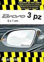 KIT 3 ADESIVI FIAT BRAVO SPECCHIETTO INTERNO SPECCHIETTI AUTO ARGENTO 6 X 1 CM