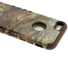 For iPhone 7 / 8 (4.7 in) HYBRID HARD&SOFT RUBBER ARMOR CASE BROWN MARBLE STONE