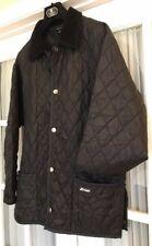Vtg K-Way Quilted Jacket Hunting Coat Work Barn Parka Black Corduroy Collar Mens