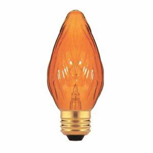 Bulbrite 40F15A 40W Fiesta Style Chandelier Bulb, Medium Base, Amber