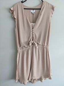 NWT RP$139 Witchery Shell Pink Frill Button Up Playsuit Elastic Waist Size 10