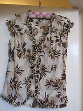 Brown Floral Crinkle Fabric Frilly Cap Sleeve M&S Per Una Blouse / Top Size 10