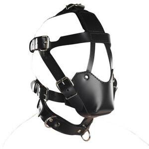 Pu Leder Gimp Spielzeug Kopf Harness Hood Maske, Gesicht MUZZLE Bondage Hood