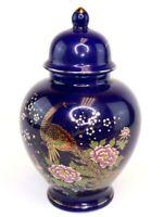 """8"""" Japanese Cobalt Blue Gold Peacock Pink Floral Porcelain Ginger Jar Urn & Lid"""