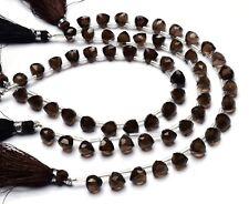 "Natural Gem Smoky Quartz Faceted 7MM Approx. Trillion Shape Beads 8"" Strand"