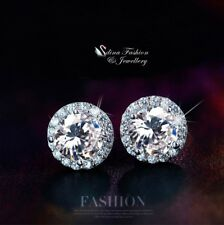 18K White Gold GF Made With Swarovski Element 8mm Exquisite Halo Stud Earrings