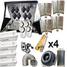 Hydroponic 4x 600W HPS Ballast Bat Wing Light Kit Grow Tent Duct Fan Filter Comb