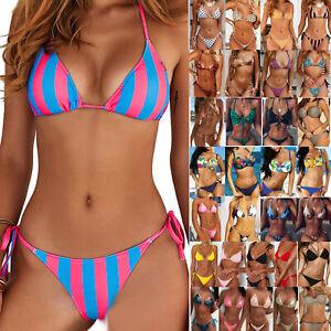Damen Push Up Bikini Set Gepolstert  G-String Schwimmanzug Strandkleidung Neu