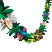 3M Hawaiian Tropical Paper Flower Garland Banner Summer Beach Luau Party Decor