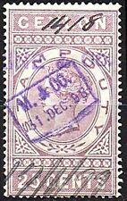 "Ceylon, QV 25c purple ""Duty"" fiscal/revenue stamp used."