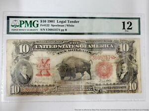PMG Fine Condition 1901 Buffalo Red Seal $10 Ten Dollar Currency U.S. Note