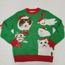 Tipsy Elves Mens Ugly Christmas Sweater Cat Jingle Bells XXL 2XL Holiday Party