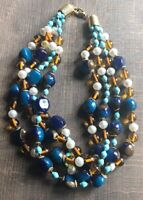 Vintage Signed Ellelle Italy Four Strand Faux Turquoise Pearls Lucite Necklace